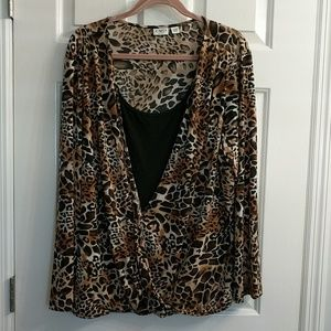 Animal print LS top